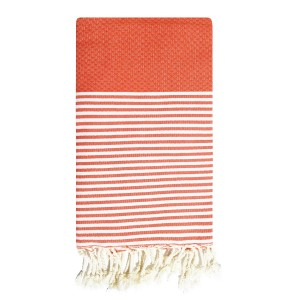 Fouta tunisienne Ziwane 1x2m tissage nid d'abeille Orange packshot