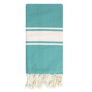 Fouta tunisienne 1x2m tissage plat 3 bandes Turquoise packshot