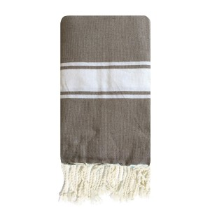 Fouta tunisienne 1x2m tissage plat 3 bandes Taupe packshot
