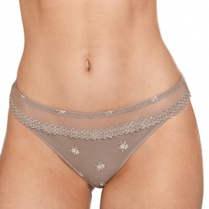 String tanga tulle et microfibre Chantilly Taupe