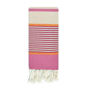 Fouta éco-responsable pour enfant 1,40x1,70m tissage plat Blanc cassé, rose & orange packshot
