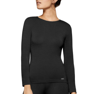 Tricot de peau anti froid manches longues col rond Thermo noir
