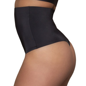 String gainant taille haute gainage fort noir