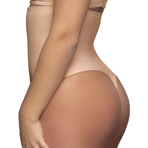 String gainant taille haute gainage fort beige